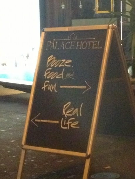 fun sign hotel booze real life