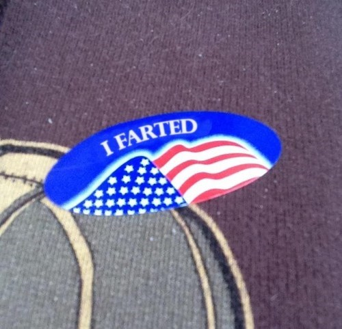 sticker i voted fart jokes farts pin election 2012 voting
