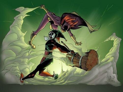 hammer,fight,batgirl,Harley Quinn