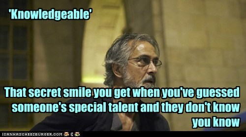 knowledgeable,david strathairn,lee rosen,secret,talent,Alphas,smug,smile