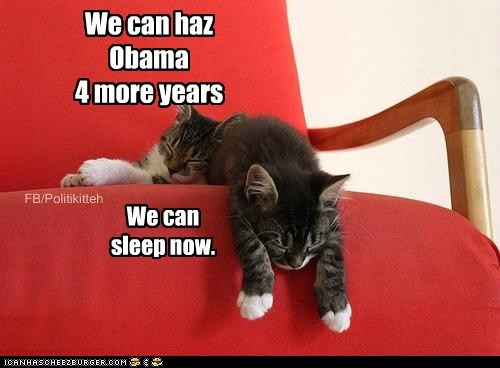We can haz Obama 4 more years We can sleep now. FB/Politikitteh