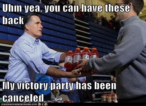 campaign,event,victory,cancelled,Mitt Romney,relief,gatorade,lost