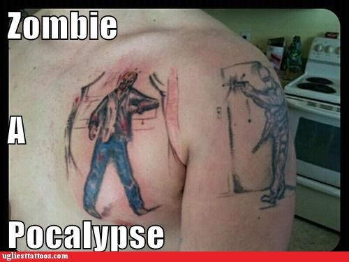 arm tattoos,zombie,chest tattoos