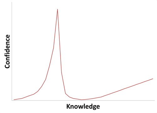 confidence,Line Graph,ignorance is bliss,knowledge