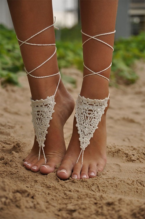 crochet socks doilies thongs - 6745436672