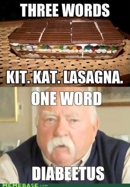 lasagna,one word,two words?,kit kat,three words,diabeetus