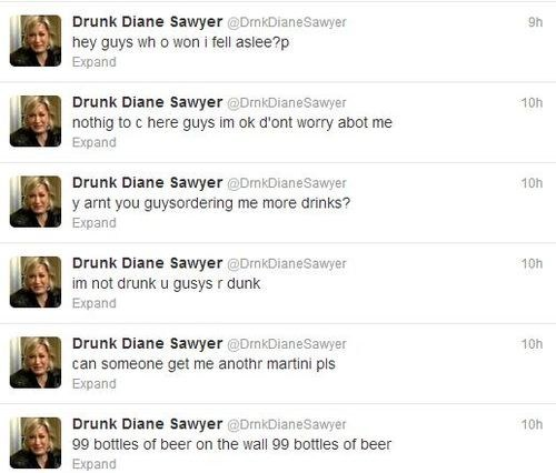 drunk dianne sawyer,newscasters,dianne sawyer,parody accounts