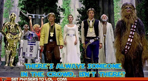 star wars,annoying,chewbacca,batleth,luke skywalker,carrie fisher,Han Solo,crowd,Princess Leia,Harrison Ford,Mark Hamill