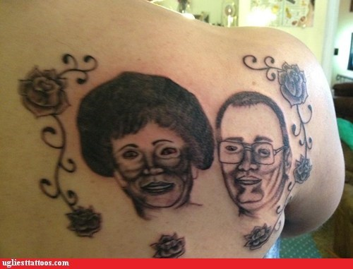 back tattoos,portrait tattoos,parents