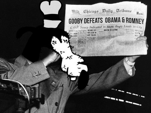 gooby,obama,election-president,Romney,dewey defeats truman,politics