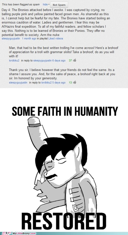 Bronies,love and tolerate,We win,the internet can be great sometimes,trolls