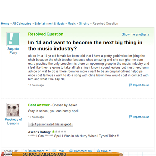 music industry,yahoo answers,breaking in,spelling