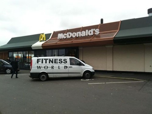 snack,fitness,McDonald's,irony,fast food,working out