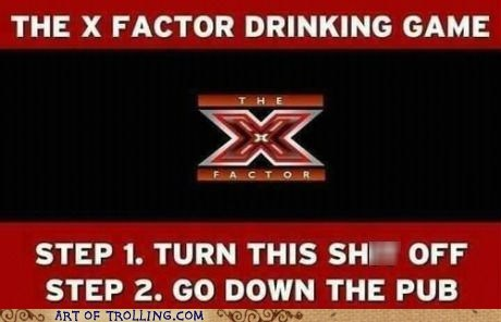 x factor drinking game pub