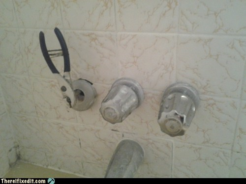 shower handle plumber shower bath bathtub bathroom pliers g rated there I fixed it - 6747879168
