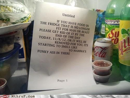 fridge cleanup clean up fridge note break room fridge yo mama - 6748093952