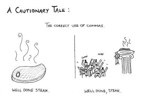 grammar,well done steak,Cautionary Tale,class is in session,commas