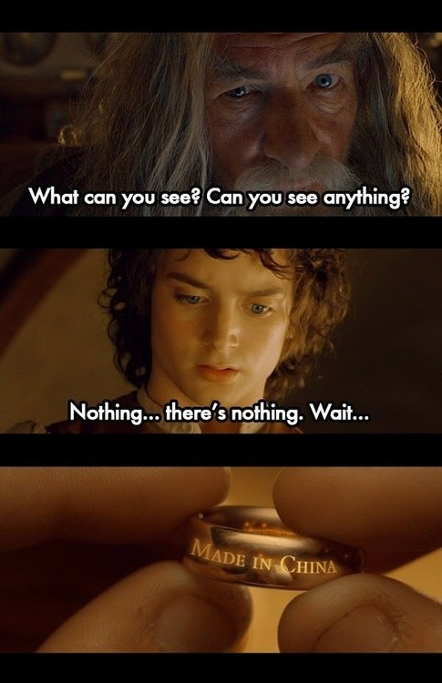 mordor,frodo,Lord of the Rings,China,gandalf,mandarin,made in china,chinese