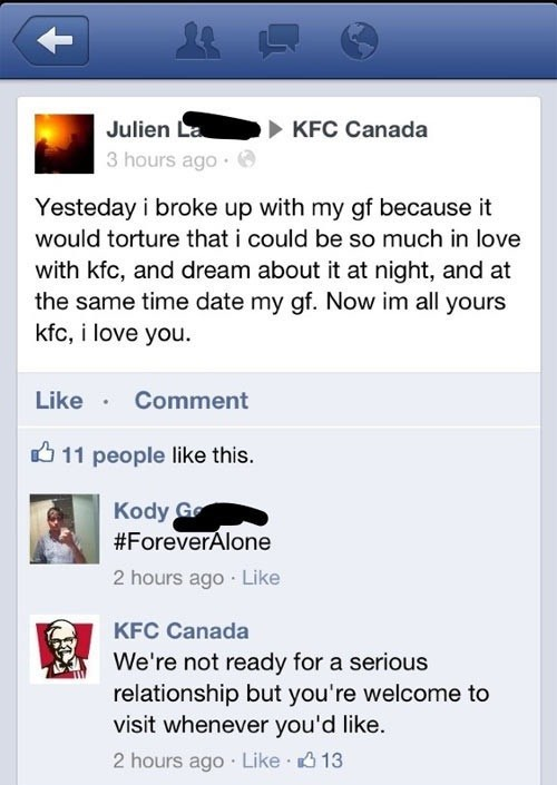 break up kfc canada ex girlfriend gf girlfriend kfc ex gf - 6748241664