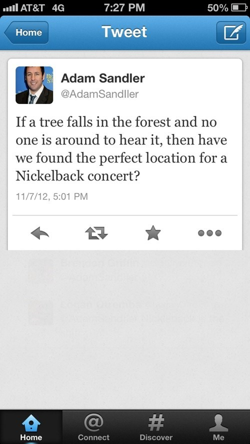 nickelback,adam sandler,tweet