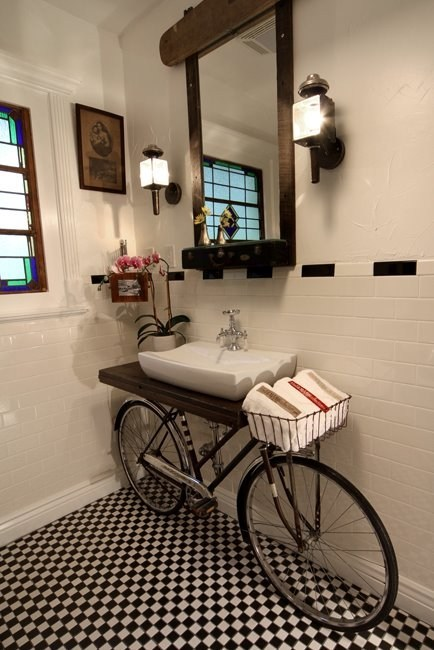 hipster bathroom,bicycle,hipsters,bike counter,bike sink