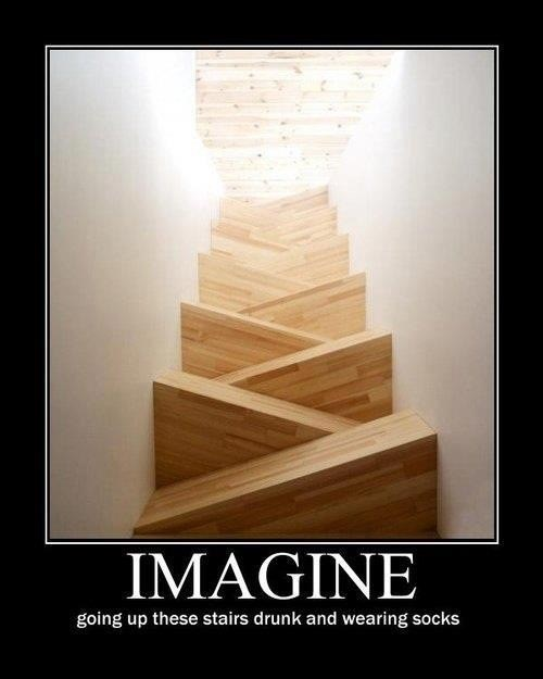 own personal hell,imagine,hardwood floor,drunk stairs