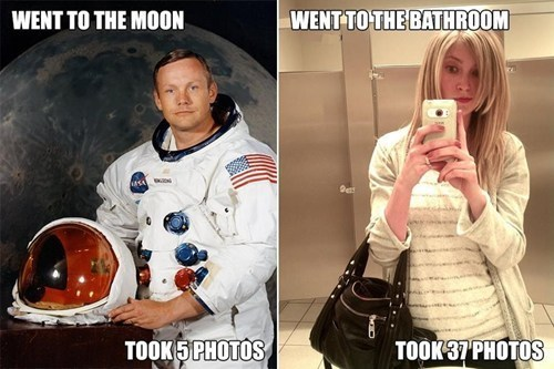 went to the bathroom self poortraits moon landing neil armstrong