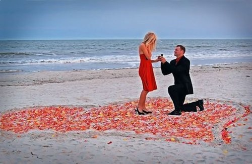 heart,beach,proposal,flowers