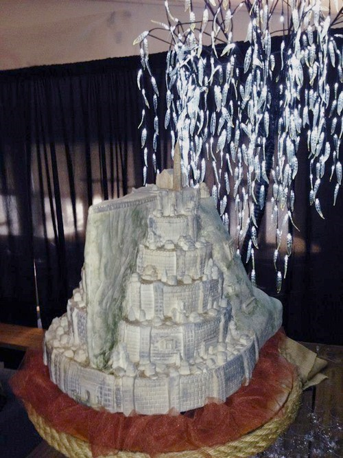 cake,minas tirith,Lord of the Rings,city,white