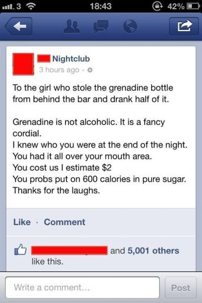 drinking grenadine calories diabeetus alcoholic nightclub