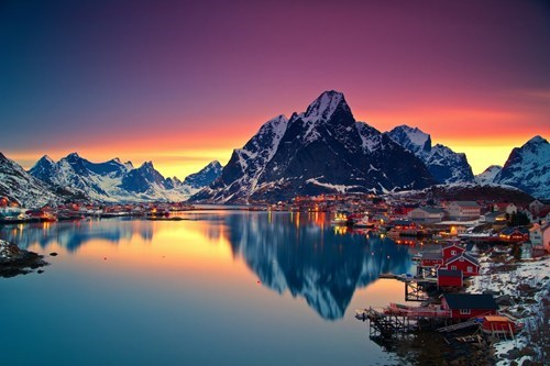 Norway,village,pretty colors,sunset