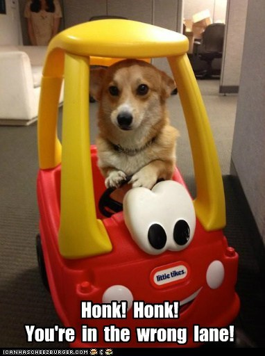 Honk! Honk! You're in the wrong lane!