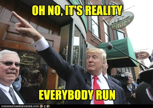 donald trump,run,panic,reality,pointing