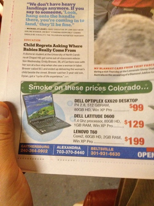 Colorado marijuana marketing smoke on these prices pot Marijuana Legalization laptop ad weed - 6751624960
