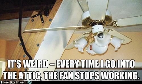 houselogic ceiling fan stairs attic - 6751675136