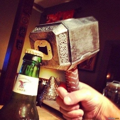 sloshed swag,Thor,bottle opener,hammer,asgard