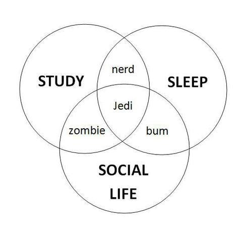 time school venn diagram social life sleeping Jedi - 6752043520
