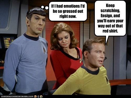 Captain Kirk scratching gross Spock Leonard Nimoy William Shatner Shatnerday emotions - 6752166400
