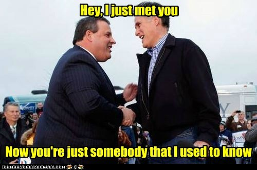 Songs,Chris Christie,Mitt Romney,somebody that i used to know,hey i just met you,change,election
