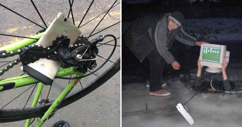 Mildly Disturbing Pics, phone twisted in a bike's chain