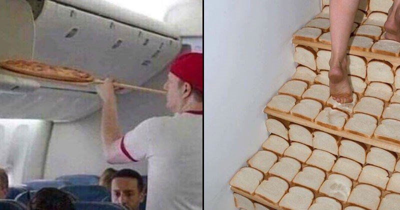 cursed images of bread stairs and pizza airplane oven