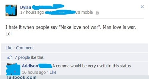 make love not war man love comma