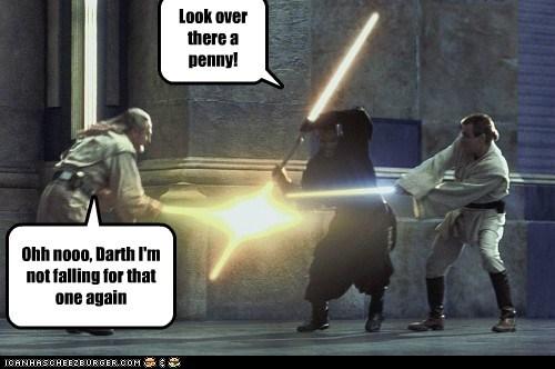 darth maul obi-wan kenobi penny liam neeson qui-gon jinn star wars lightsabers ewan mcgregor look the phantom menace trick - 6753946624