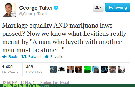 gay marriage Marijuana Legalization george takei marriage equality - 6754438400