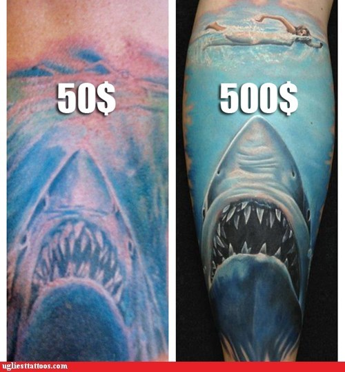 jaws,good vs bad tattoos,sharks