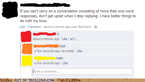 whining conversation facebook