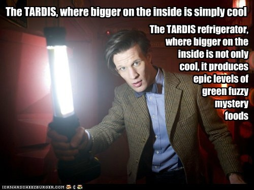The TARDIS, where bigger on the inside is simply cool The TARDIS refrigerator, where bigger on the inside is not only cool, it produces epic levels of green fuzzy mystery foods