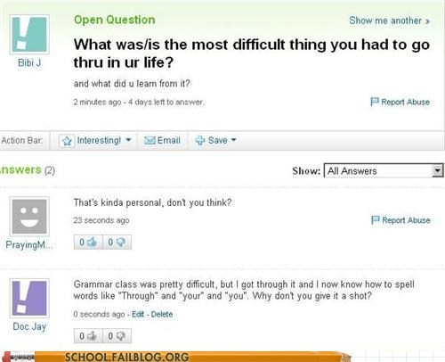 grammar,Yahoo! answers,difficult