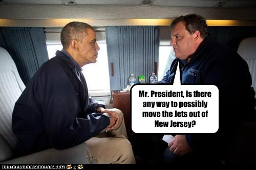 Chris Christie aid disaster barack obama jets New Jersey