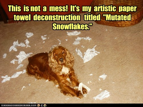 dogs spaniel art toilet paper mess